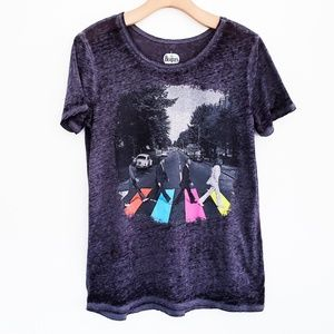 THE BEATLES Abbey Road Burnout Graphic Tee Black